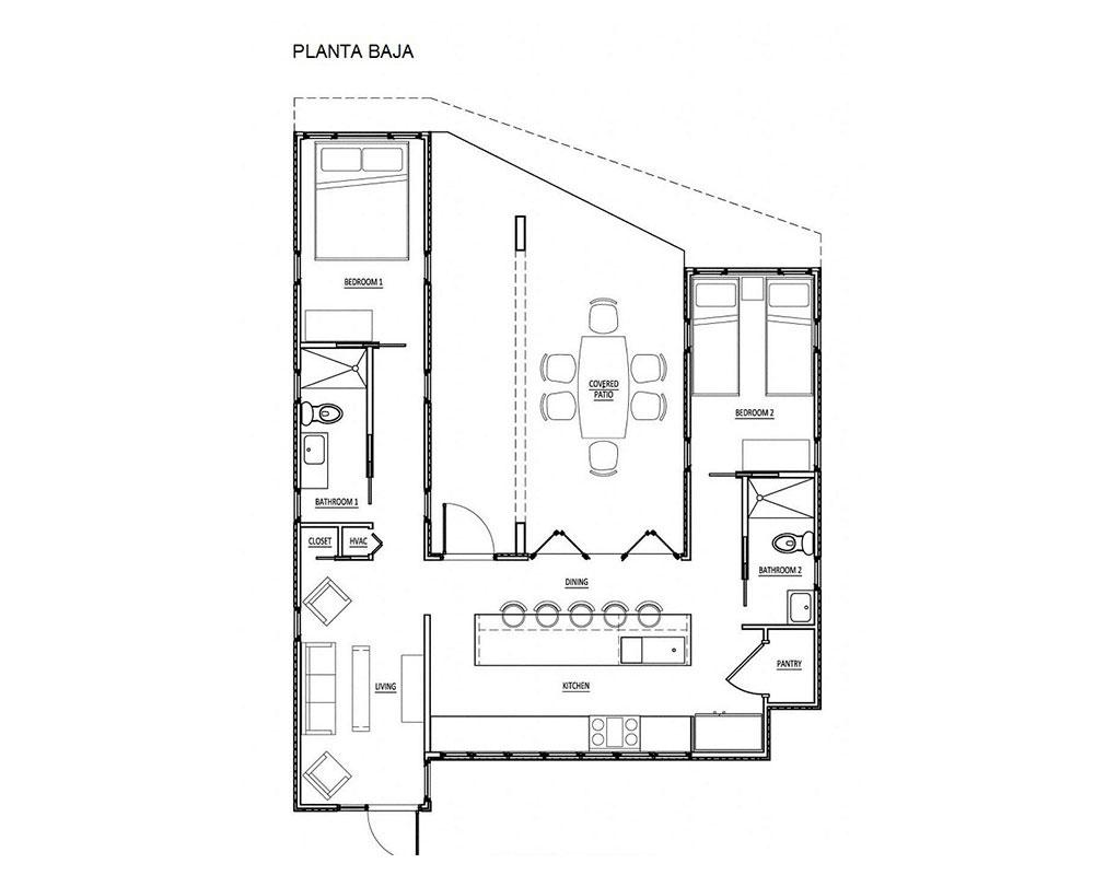 proyecto con patio central con varios containers