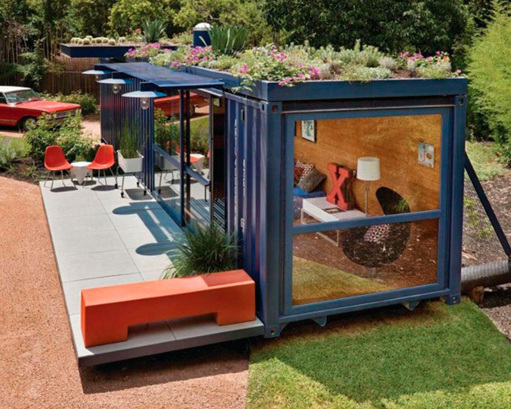 techo verde en modulo container