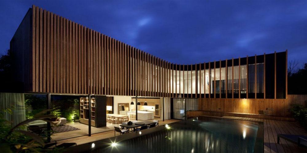 casa-con piel curva de madera